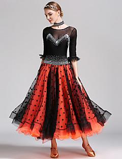 Dança de Salão Mulheres Apresentação Elastano Tule Meia manga Vestido Neckwear