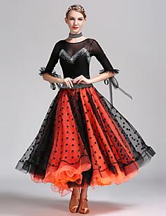 Standardní tance Šaty Dámské Taneční vystoupení Tyl Lycra Puntíkované Polodlouhé rukávy Přírodní Šaty Neckwear