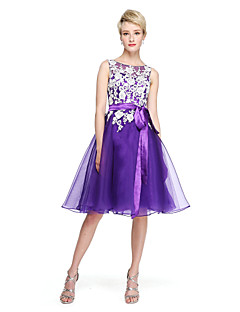 cheap Bridesmaid Dresses-A-Line Jewel Neck Knee Length Organza Corded Lace Bridesmaid Dress with Beading Appliques Bow(s) Sash / Ribbon by LAN TING BRIDE®