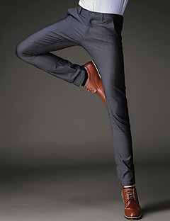 Men's Mid Rise Micro-elastic Straight Slim Business Pants,Simple Straight Slim Business Solid