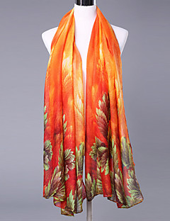 Women Elegant Cotton Polyester Scarf Vintage Party Casual Rectangle Red Green Pink Yellow Orange Print