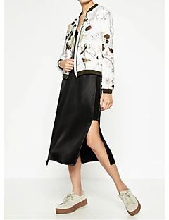 Damen Solide Blumen Street Schick Lässig/Alltäglich Jacke,Ständer Frühling Herbst Standard Baumwolle Others