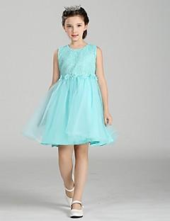 ieftine -rochie de mireasa genunchi lungime rochie fata rochie - organza gât de bijuterie fără mâneci cu briuță de mii