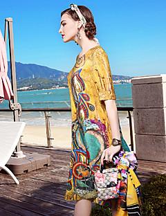 Χαμηλού Κόστους YENMEINAR-Εξόδου Καθημερινά Παραλία Απλό Εκλεπτυσμένο Φαρδιά Φόρεμα,Φλοράλ Στρογγυλή Λαιμόκοψη Ως το Γόνατο Μετάξι Άνοιξη Καλοκαίρι Κανονική Μέση