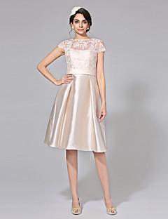 billiga A-linjeformade brudklänningar-A-linje Illusion Halsband Knälång Spets / Mikado Bröllopsklänningar tillverkade med Rosett / Bälte / band / Knapp av LAN TING BRIDE®