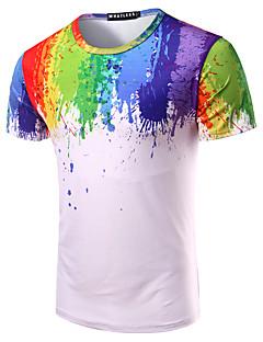Bomull Flerfarget Kortermet,Rund hals T-skjorte Regnbue Enkel Ut på byen Fritid/hverdag Strand Herre