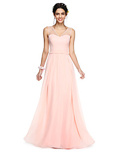 cheap Romance Blush-A-Line V Neck Floor Length Georgette Bridesmaid Dress with Bow(s) Sash / Ribbon by LAN TING BRIDE®