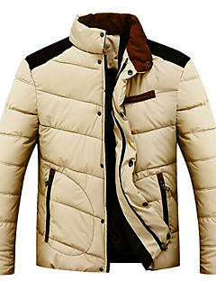 Men's Long Padded Coat,Simple Casual/Daily Solid-Cotton Cotton Long Sleeves