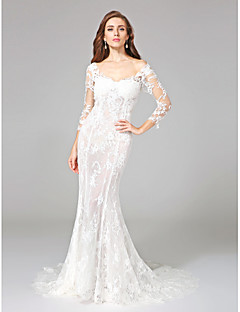 Mermaid / Trumpet Off-the-shoulder Court Train Lace Wedding Dress with Appliques by LAN TING BRIDE®