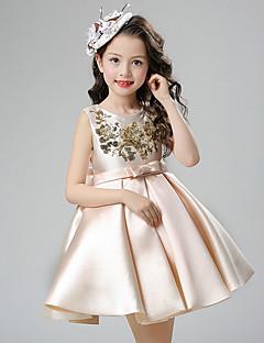 бальное платье короткое / мини платье девушки цветка - хлопок атласная без рукавов жемчужина шея с блестками от ydn