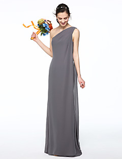 Sheath / Column One Shoulder Floor Length Chiffon Bridesmaid Dress with Pleats by LAN TING BRIDE®