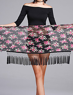 Latin Dance Hip Scarves Women's Performance Tulle Pattern/Print Tassel(s) 1 Piece Hip Scarf