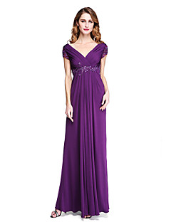 Sheath / Column V-neck Floor Length Jersey Mother of the Bride Dress with Beading Appliques Criss Cross Pleats by LAN TING BRIDE®