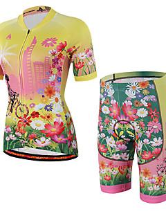 billige Sett med sykkeltrøyer og shorts/bukser-Kortermet Sykkeljersey med shorts Sykkel Shorts Fôrede shorts Jersey, Pustende, Svettereduserende, Refleksbånd, 3D Pute
