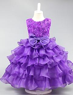 billiga Brudnäbbsklänningar-Bollklänning Kort / Mini Flower Girl Dress - Organza Ärmlös Jewel Neck med Ruffles av ydn