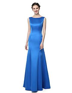 tanie Królewski błękit-Syrena Bateau Neck Sięgająca podłoża Szyfon satynowy Sukienka dla druhny z Plisy przez LAN TING BRIDE®