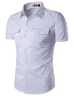 Herren Solide Einfach Lässig/Alltäglich Arbeit Übergröße Hemd,Klassischer Kragen Sommer Kurzarm Baumwolle Kunstseide Dünn