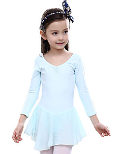 Ballet Dresses Children's Training Cotton Ruffles 1 Piece Long Sleeve Natural Leotard
