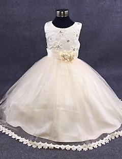 ieftine -rochie de mireasa glezna lungime floare fată rochie - organza fără buzunar gât de bijuterie cu perla de mii