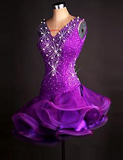 tanie Stroje do tańca latino-Taniec latynoamerykański Suknie Damskie Wydajność Spandeks / Organza Kryształy / kryształy górskie Bez rękawów Ubierać