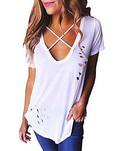 Primavera Mujer Color Algodón Un Camiseta Agujero Verano En Escote Pico qqR08wBr