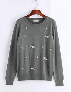baratos Suéteres de Mulher-Mulheres Tamanhos Grandes Manga Longa Pulôver Estampado / Outono / Bordado