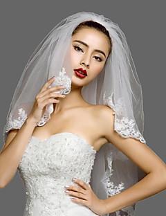 Hochzeitsschleier Zweischichtig Gesichts Schleier Ellbogenlange Schleier Spitzen-Saum Tüll Spitzen