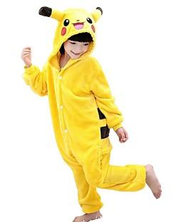 Kigurumi Pyjamas Pika Pika Kokopuku Yöpuvut Asu Polar Fleece Keltainen Cosplay varten Lapset Animal Sleepwear Sarjakuva Halloween