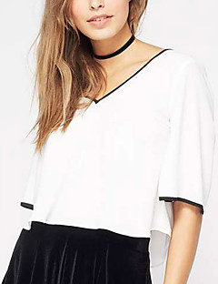 billige T-shirt-V-hals Dame - Farveblok, Åben ryg Sløjfer Plusstørrelser T-shirt Polyester