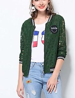 Damen Solide Vintage Einfach Chinoiserie Ausgehen Lässig/Alltäglich Strand Jacke,Rundhalsausschnitt Frühling Sommer Langarm Kurz Others