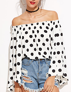 cheap Women's Tops-Women's Flare Sleeve Polyester T-shirt - Polka Dot, Backless Boat Neck