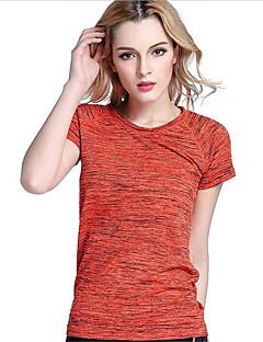 billiga Träning-, jogging- och yogakläder-Dam Rund hals T-shirt för jogging - Orange, Grå, Fuchsia sporter T-shirt / Överdelar Kortärmad Sportkläder Snabb tork, Andningsfunktion