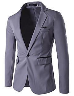 billige Herremote og klær-Rayon Normal Skjortekrage Blazer Fargeblokk Vår Sommer Høst Forretning Enkel Fritid Daglig Arbeid Herre