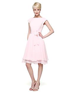 A-Linie Princess Klenot Ke kolenům Šifón Šaty pro družičky s Mašle Knoflíky Šerpa / Stuha Sklady podle LAN TING BRIDE®