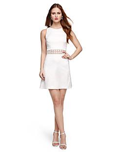 baratos Vestidos de Formatura-Linha A Decorado com Bijuteria Curto / Mini Renda Costas Lindas Coquetel Vestido com Pregas de TS Couture®
