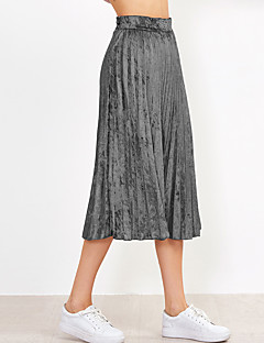 Women's Mid Rise Going out Casual/Daily Midi Skirts,Simple Cute Street chic Swing Solid All Seasons