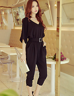 DABUWAWA Women Slim Harem JumpsuitsGoing out Work Party/Cocktail Simple Street chic Punk & Gothic Solid Pleated V Neck  Length Sleeve High Rise