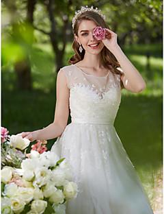 billiga A-linjeformade brudklänningar-A-linje Illusion Halsband Svepsläp Spets / Tyll Bröllopsklänningar tillverkade med Bård / Applikationsbroderi av LAN TING BRIDE®