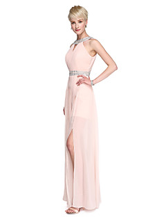 cheap Romance Blush-Sheath / Column High Neck Floor Length Chiffon Bridesmaid Dress with Beading Pleats Split Front by LAN TING BRIDE®