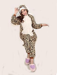 billige Kigurumi-Voksne Kigurumi-pysjamas Leopard Onesie-pysjamas Flanell Fleece Cosplay Til Damer og Herrer Pysjamas med dyremotiv Tegnefilm Halloween Festival / høytid