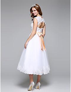 저렴한 웨딩 드레스-A-라인 물결 종아리 길이 레이스 튤 웨딩 드레스 와 비즈 레이스 허리끈/리본 리본 으로 LAN TING BRIDE®