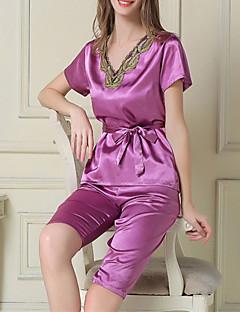 女性のシルク& サテンパジャマ、2ピースセットパープルホワイトピンク