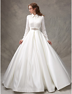 High neck wedding dresses search lightinthebox ball gown high neck sweep brush train satin wedding dress with beading sash ribbon junglespirit Images