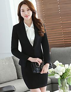 Damen Solide Einfach Arbeit Blazer,Rundhalsausschnitt Frühling Herbst Lange Ärmel Standard Baumwolle