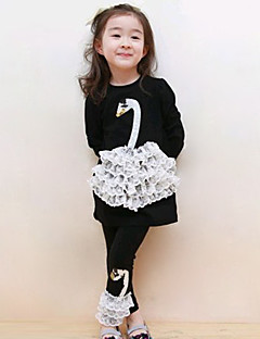Girls' Daily Going out Holiday Print Patchwork Clothing Set,Cotton Spring Fall Long Sleeve Cartoon Lace White Black