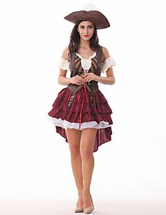 billige Halloweenkostymer-Pirat Cosplay Kostumer Dame Halloween Karneval Nytt År Barnas Dag Festival / høytid Halloween-kostymer Ensfarget
