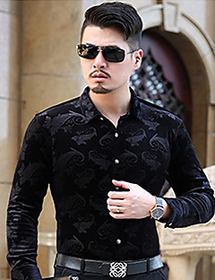 Men's Casual/Daily Simple Spring Fall Shirt,Jacquard Classic Collar Long Sleeves Cotton