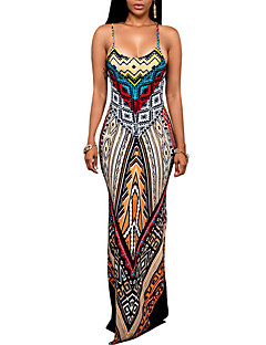 Women's Going out Party Sexy Sophisticated Sheath Dress,Print Strap Maxi Sleeveless Rayon All Seasons Mid Rise Micro-elastic Thin