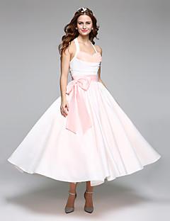 Ball Gown Halter Tea Length Satin Tulle Wedding Dress With Sash Ribbon Bow By LAN