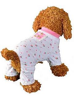 저렴한 -강아지 점프 수트 파자마 강아지 의류 통기성 귀여운 캐쥬얼/데일리 과일 핑크 코스츔 애완 동물
